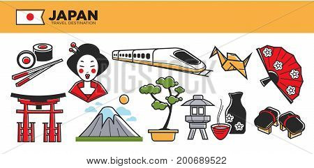 Japan travel destination vector illustration. Fresh sushi, traditional geisha makeup, modern train, national clothing elements, asian tea, high mountain, bonsai tree, wooden arch and street light.