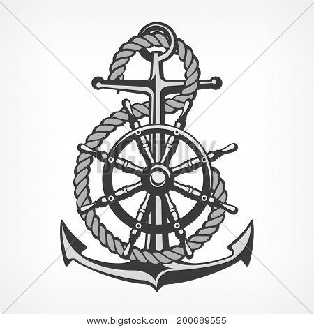 Anchor With Rope And Steering Wheel