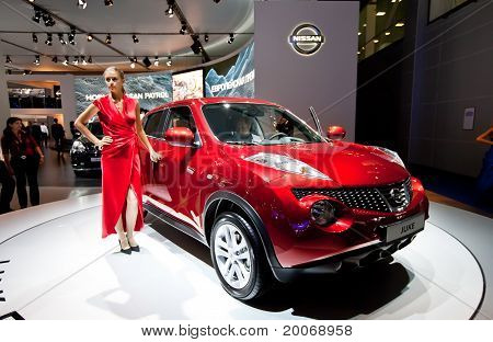 Moscow, Russia - August 25:  Red Jeep Car Nissan Juke At Moscow International Exhibition Interauto O
