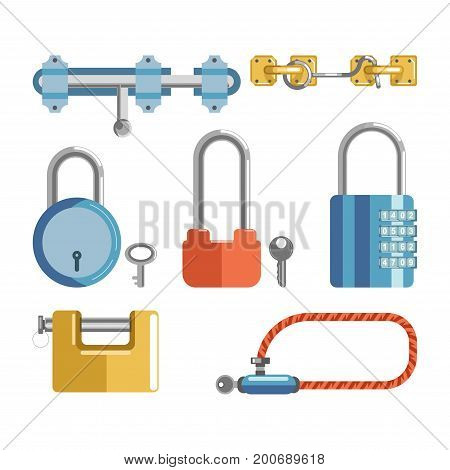 Solid metal locks with small keys and numeric code and simple latches isolated cartoon illustrations set on white background. Simple protective devices for premises security to keep door closed.
