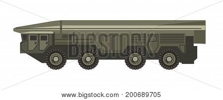 Huge military vehicle with armored corpus isolated cartoon vector illustration on white background. Mobile strategic transport with three-stage solid-fuel intercontinental ballistic missile.