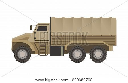 Military truck with beige solid corpus and trunk upholstered with tent for heavy freight safe transportation isolated cartoon vector illustration on white background. Transport for special purposes.