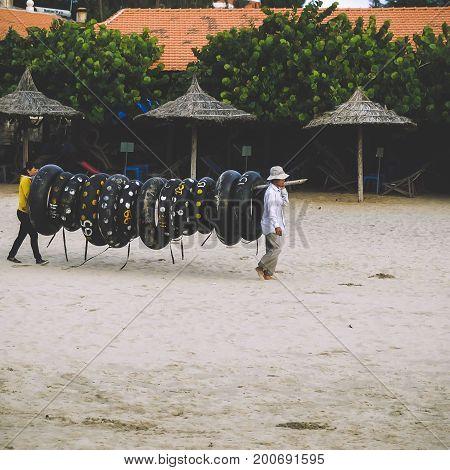 VUNG TAU / VIETNAM, 20 AUGUST 2017 - Buoys Rental Service in Vung Tau Beach, Vietnam