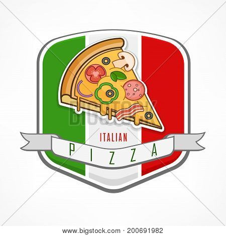 Pizza Sticker On White