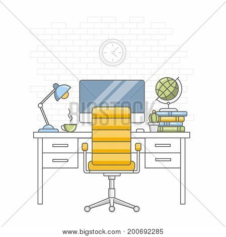 Back to school. Education. Home kid room interior. Desktop, chair, monitor, lamp, cup, books and globe against a white brick wall background. Linear flat style
