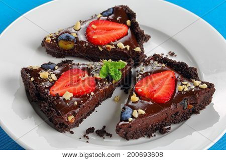 Slices Of No Bake Chocolate Cake