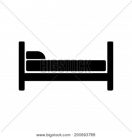 Simple icon of bed. Hotel, motel, guest room. Infrastructure concept. Can be used for information boards, road signs and web pictograms