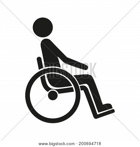 Simple icon of invalid man sitting in wheelchair. Disability, handicapped, accident. Warrant concept. Can be used for topics like disabled people, insurance, health
