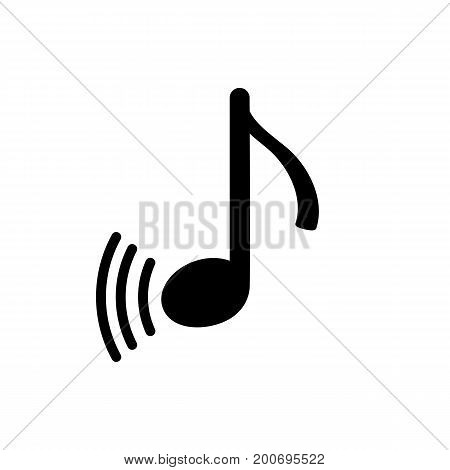 Simple icon of note and sound. Playing music, media player, melody. Music concept. Can be used for internet and mobile applications and web pictograms