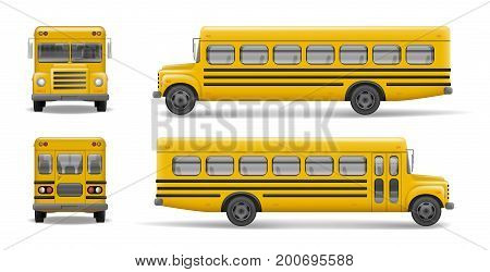 Yellow school bus front, back and side view. Transportation and vehicle transport, back to the school. Relistic bus mockup. Vector illustration EPS 10