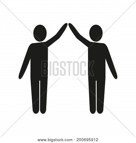 Simple icon of people giving high five or making roof. Unity, home, protection. Warrant concept. Can be used for topics like construction, business, social issues