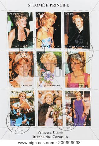 Bangkok Thailand - July 6 2017: Stamps Printed In Thailand Set Of Stamps Showing Nine Stamps With Pictures Of Diana Princess of Wales Lady Di circa 1997