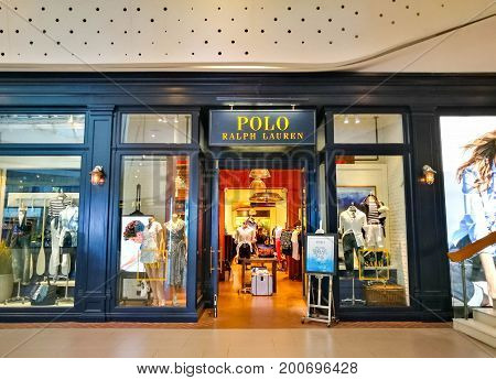 Bangkok Thailand - July 18 2017 : Entrance To A Polo Ralph Lauren Shop At Central World on July 18 2017. Polo Ralph Lauren Designs Markets And Sells Men's Women's And Children's Fashion Products To Customers Worldwide