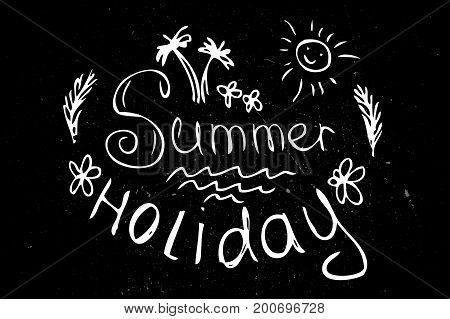 Summer Design Elements Or Typography Design.