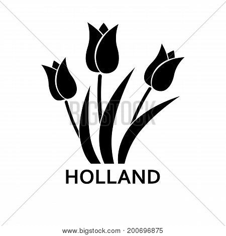 Simple icon of tulips with Holland lettering. Dutch symbol, travel, tourism. Travel concept. Can be used for greeting cards, postcards and travel guides