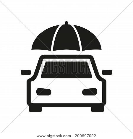 Simple icon of umbrella over car. Car insurance, protection, guarantee. Warrant concept. Can be used for topics like insurance, service, transport