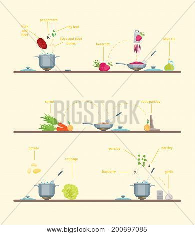 Cartoon Cooking Dishes Steps with Ingredients Making Instruction Manual Recipe, Concept for Menu. Vector illustration of how to make dish