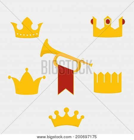 Royal gold crown of the king set vector