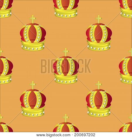 Golden Crown Seamless Pattern Isolated on Orange Background