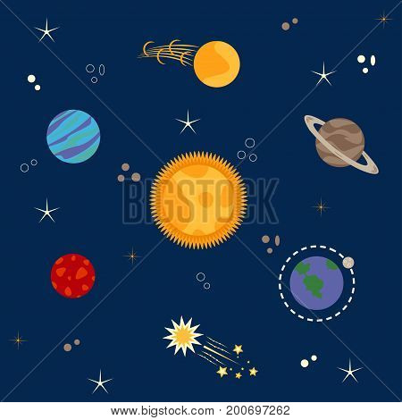 Solar system, planets, comets, stars set - vector
