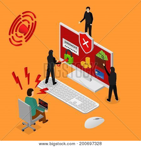 Internet Security Isometric View Service for Monitoring and Protect Privacy Data and Finance. Vector illustration of internet thief and protection