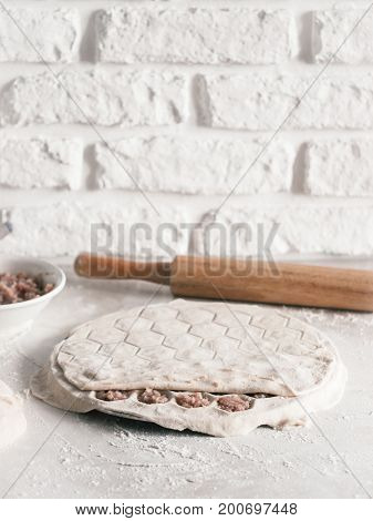 Process of making russian pelmeni, ravioli or dumplings with meat on white table. Homemade uncooked pelmeni and ingredients. Copy space