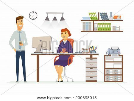Office Consultation - vector illustration of a business situation. Cartoon people characters of young, middle age female, male colleagues at work. Manager, supervisor, secretary, discussing, planning