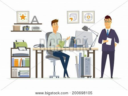 Partner Meeting - vector illustration of a business situation. Cartoon people characters of young, middle age male colleagues, partners discussing work. Managers, specialists sharing ideas, planning