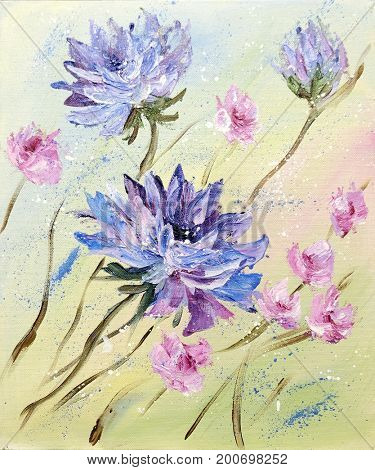 Hand painted modern style Purple and Pink flowers. Spring flower seasonal nature background. Oil painting floral texture