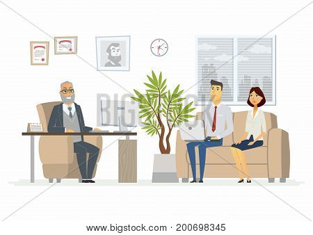Office Head Consultation - vector illustration of a business situation. Cartoon people characters of senior male, young visitors at work. Company president, manager, advisor in armchair giving advice