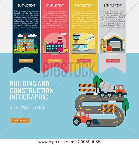 Infographic Building and Construction | Use for construction, building, architecture and much more. The set can be used for several   purposes like: websites, print templates, presentation templates, promotional materials, info
