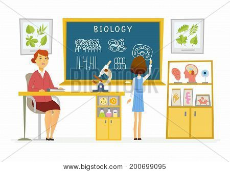 Biology lesson at school - modern cartoon people characters illustration with a young teacher and student speaking at the blackboard. Classroom with visual aids, desk, chair, formulas, microscope