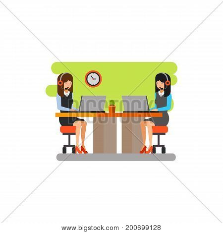 Icon of contact center workplace. Businesswomen, operators, desk. Contact center concept. Can be used for topics like communication, helpline, call center
