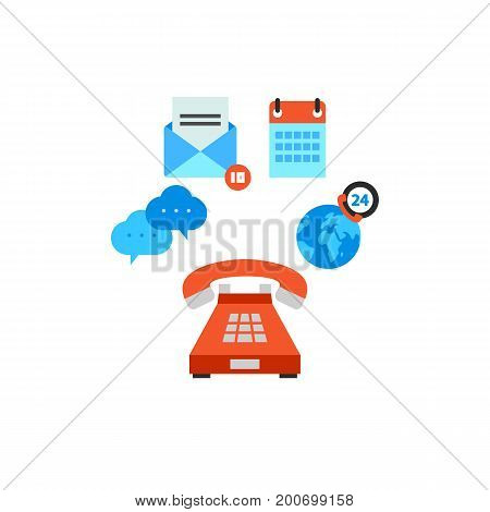 Icon of contact us concept. E-mail, calendar, phone, dialogue cloud, globe. Contact center concept. Can be used for topics like round-the-clock access, call center, communication