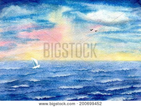 Seascape, storm at sea, yacht on waves and birds on the horizon. Hand-painted watercolor illustration and paper texture