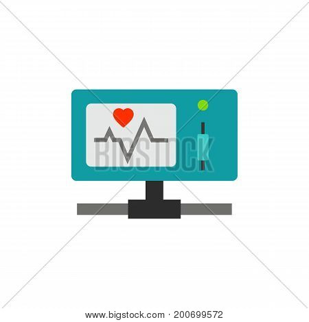Icon of health care portable monitor. Heartbeat, heart rhythm, taking control of health. Medical devices concept. Can be used for topics like health, patients condition, operating room