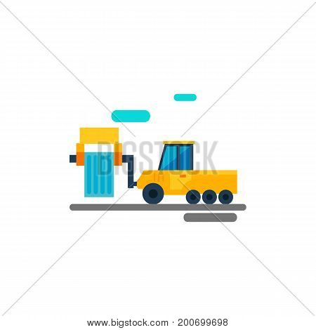 Icon of industrial vehicle. Fork lifter, loader, port, equipment. Seaport concept. Can be used for topics like dock, machine, industry