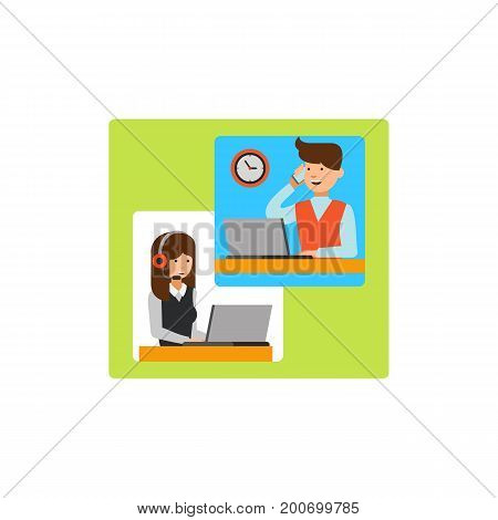Icon of making call. Business people, workplace, technology, asking. Contact center concept. Can be used for topics like organization, communication, customer service