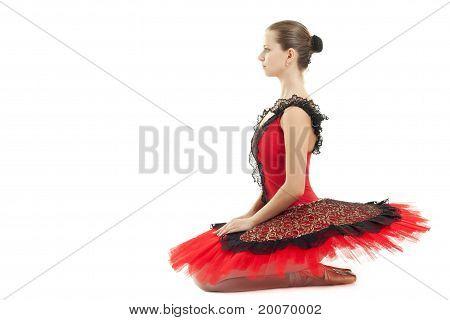 Seated Ballerina On White Background