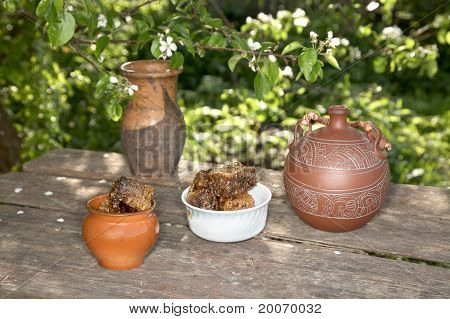 Honey In  Pot Against A  Pear