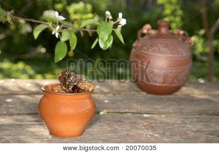 Honey In  Pot Against Pear