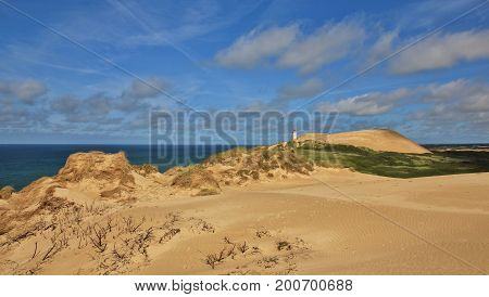 Summer day at the west coast of Denmark. 90 meter high sand dune Rubjerg Knude.