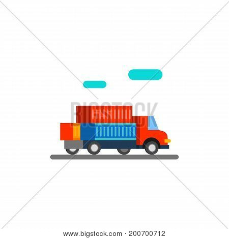 Icon of sea freight. Truck, containers, vehicle. Seaport concept. Can be used for topics like transportation, service, logistics