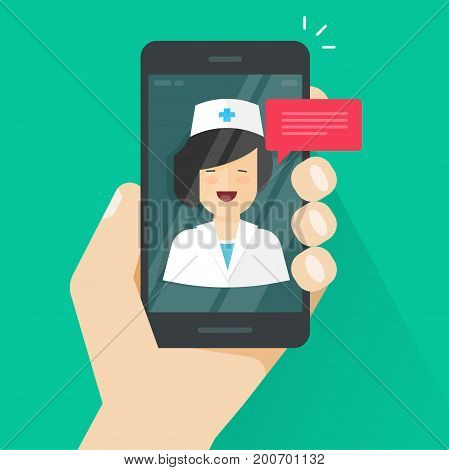 Doctor online on mobile phone vector illustration, flat cartoon woman doctor answers via cellphone on-line video technology, remote medical consultation via smartphone, telemedicine technology