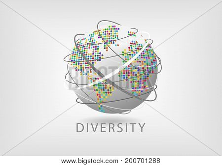 Colorful diversity around the world with earth symbol