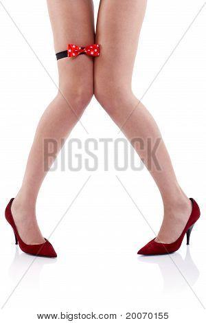 Woman Wearing Red High Heels