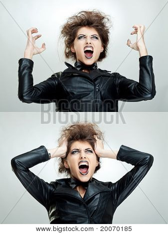 Frustrated And Angry Woman Is Screaming
