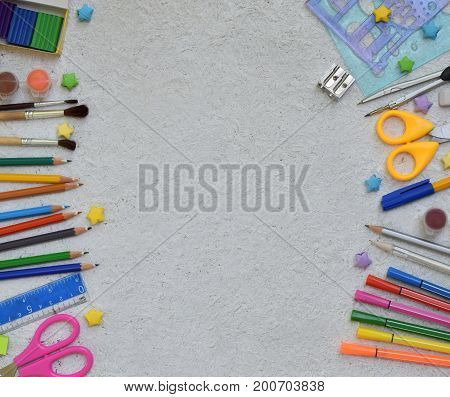 Frame Of School Supplies And Supplies: Pencils, Markers, Paints, Pens On A Light Background. Back To