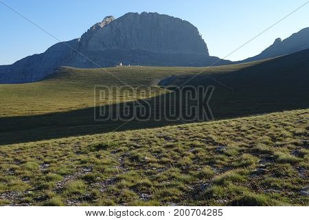 The mythical summit of Mount Olympus in Greece, as seen from the Plateau of the Muses