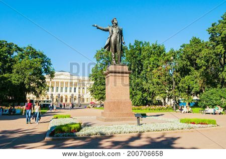ST PETERSBURG RUSSIA-AUGUST 15 2017. Building of the State Russian museum and monument to Alexander Pushkin in St Petersburg Russia. Architecture summer landscape of St Petersburg Russia landmarks